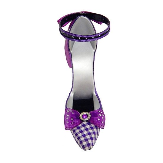 Purple Plaid Pointed Toe Shoe Ring Holder
