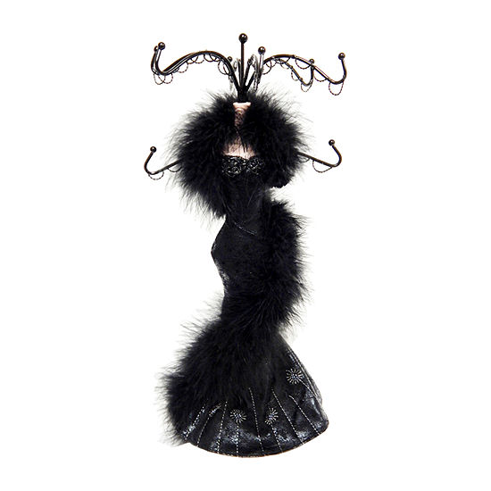 Black Satin Gown Mannequin Jewelry Tree