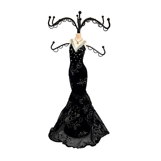 Black Lace Gown Mannequin Jewelry Tree