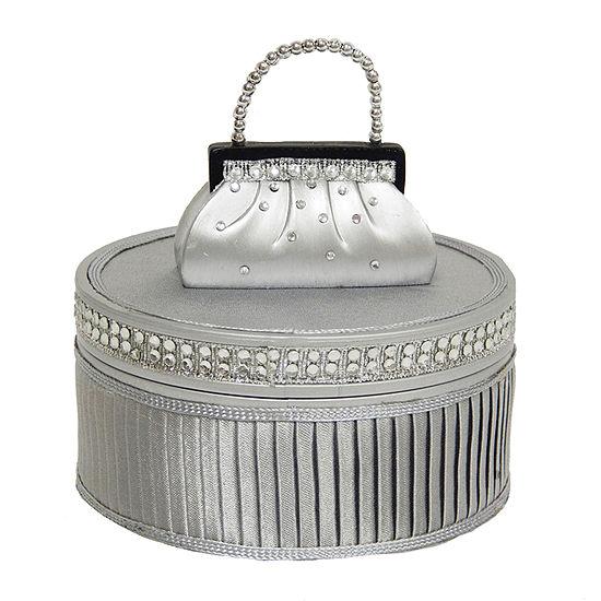 Round Silver Dazzling Gems Jewelry Box