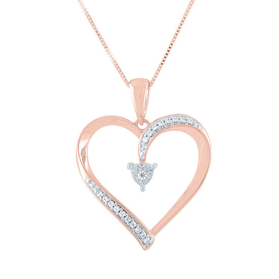 Womens Diamond Accent Genuine Diamond 10K Rose Gold Heart Pendant