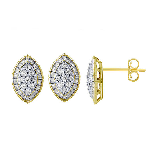 5/8 CT. T.W. Genuine White Diamond 10K Gold 15.8mm Stud Earrings