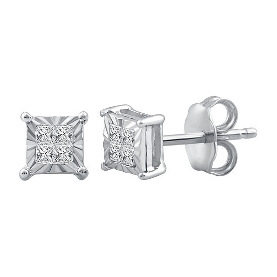 1/10 CT. T.W. Genuine White Diamond Sterling Silver 4.8mm Stud Earrings