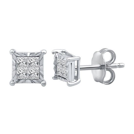 1/4 CT. T.W. Genuine White Diamond Sterling Silver 5.9mm Stud Earrings