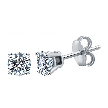1 1/4 CT. T.W. Genuine White Diamond 14K White Gold 5.4mm Stud Earrings, One Size