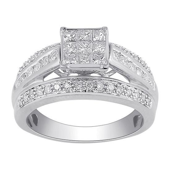 1 Ct Tw Diamond 10k White Gold Multi Top Bridal Ring