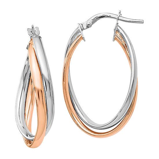 Made in Italy 14K Rose Gold 14K White Gold 29mm Hoop Earrings