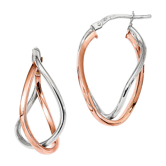 Made in Italy 14K Rose Gold 14K White Gold 29mm Hoop Earrings