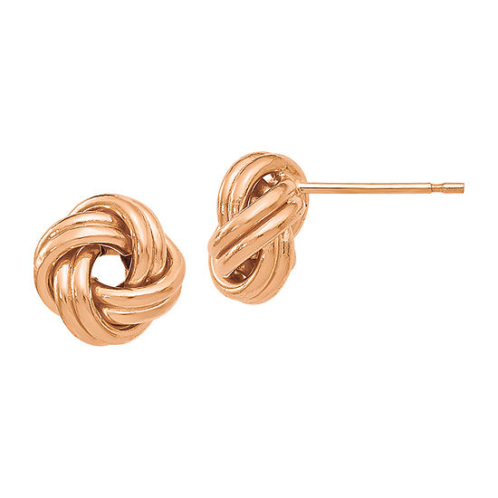 Made in Italy 14K Rose Gold 9mm Knot Stud Earrings