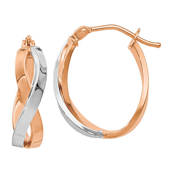 Made in Italy 14K Rose Gold 14K White Gold 18mm Hoop Earrings
