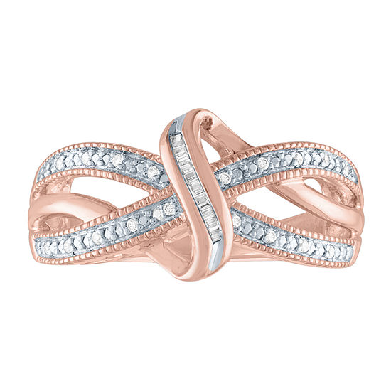 Womens 1/10 CT. T.W. Genuine Diamond 14K Rose Gold Over Silver Cocktail Ring