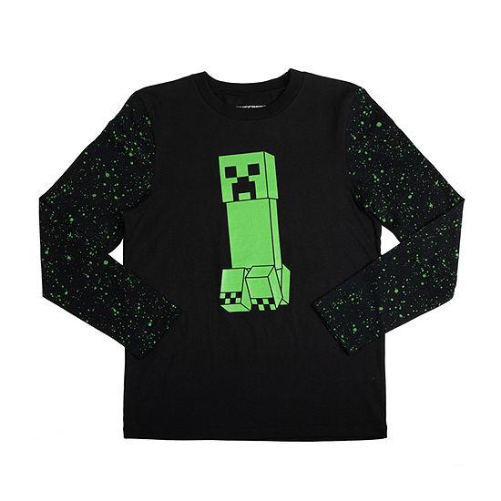 Little & Big Boys Crew Neck Minecraft Long Sleeve Graphic T-Shirt