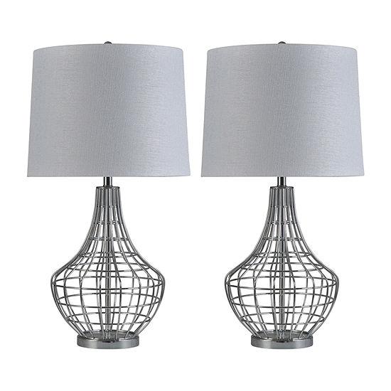 Stylecraft Basketweave 2-pc. Lamp Set