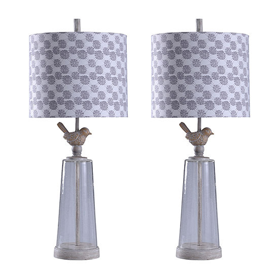Stylecraft Crystal Cream Set Of 2-pc. Lamp Set