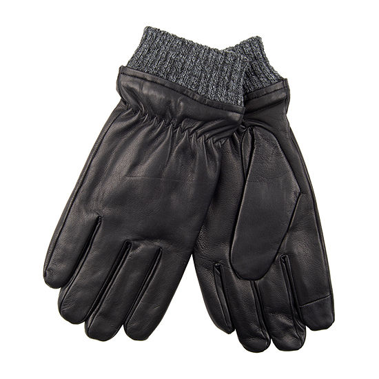 Dockers® Fleece Lined Leather Glove with Heathered Knit Cuff