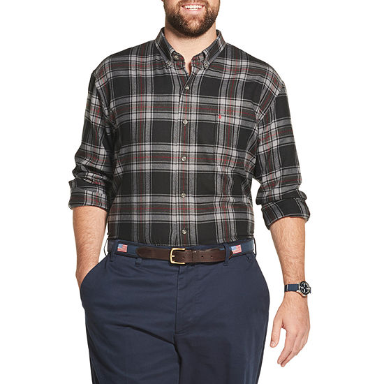 IZOD Big and Tall Flannel Plaid Button-Down Shirt
