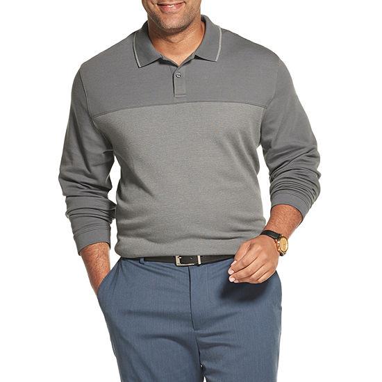 Van Heusen Big and Tall Mens Long Sleeve Polo Shirt