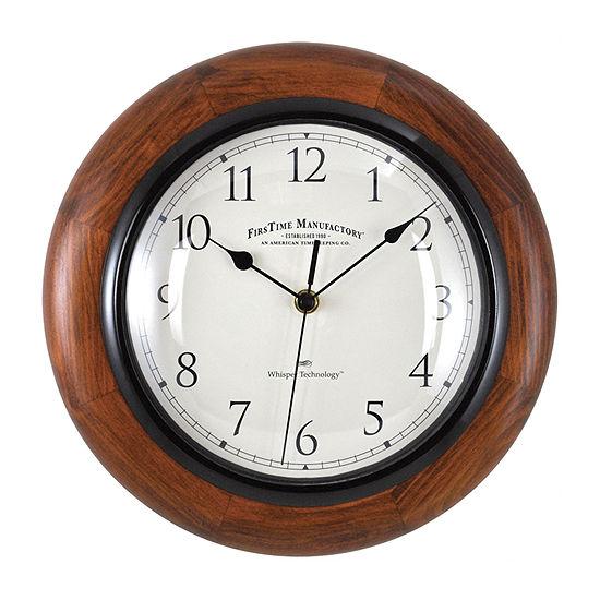 FirsTime® Walnut Round Whisper Wall Clock