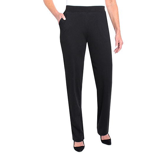 Cathy Daniels Black And White Womens Mid Rise Straight Pull-On Pants