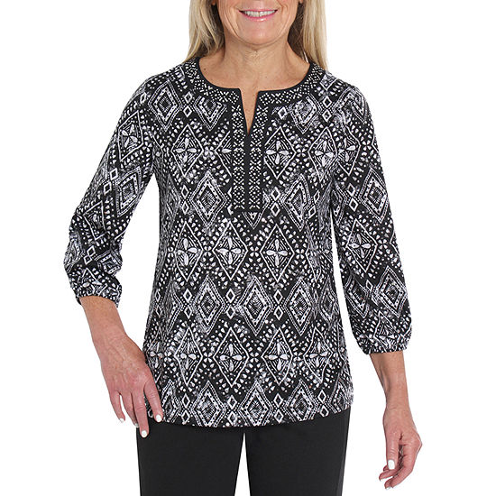 Cathy Daniels Black And White Womens Split Crew Neck 3/4 Sleeve Knit Blouse