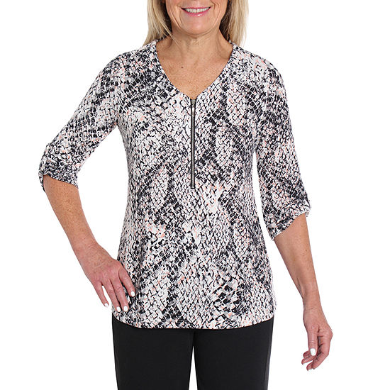 Cathy Daniels Black And White Womens V Neck 3/4 Sleeve Knit Blouse