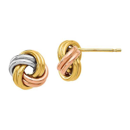 Made in Italy 14K Tri-Color Gold 8.5mm Knot Stud Earrings