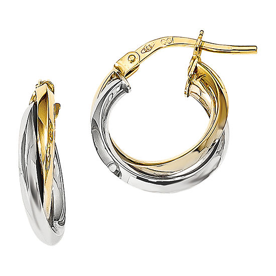 Made in Italy 14K Two Tone Gold 16.5mm Hoop Earrings