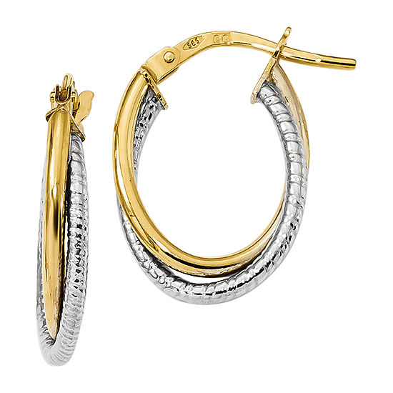Made In Italy 14k Two Tone Gold 192mm Oval Hoop Earrings