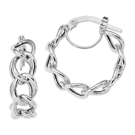 Made in Italy 14K White Gold 21.4mm Hoop Earrings