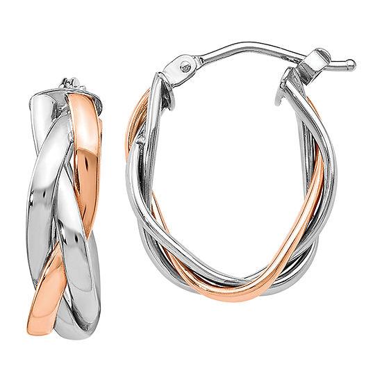 Made in Italy 10K White Gold 21mm Hoop Earrings