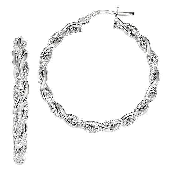Made in Italy 14K White Gold 32.6mm Hoop Earrings