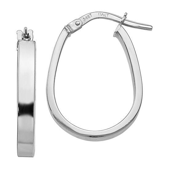Made in Italy 14K White Gold 21mm Oval Hoop Earrings