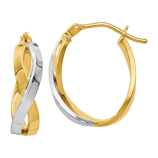 Made in Italy 14K Two Tone Gold 18mm Hoop Earrings
