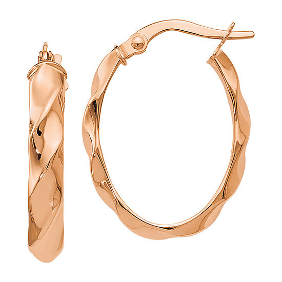 Made in Italy 14K Rose Gold 22mm Oval Hoop Earrings