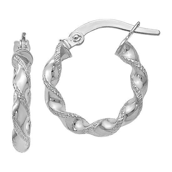 Made in Italy 10K White Gold 17mm Hoop Earrings