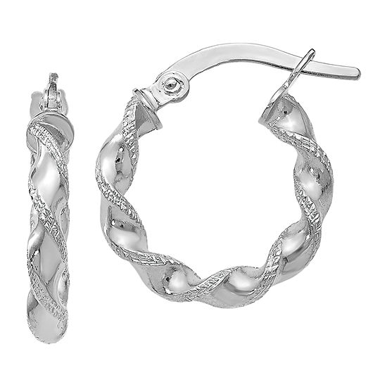 Made In Italy 14k White Gold 16mm Oval Hoop Earrings