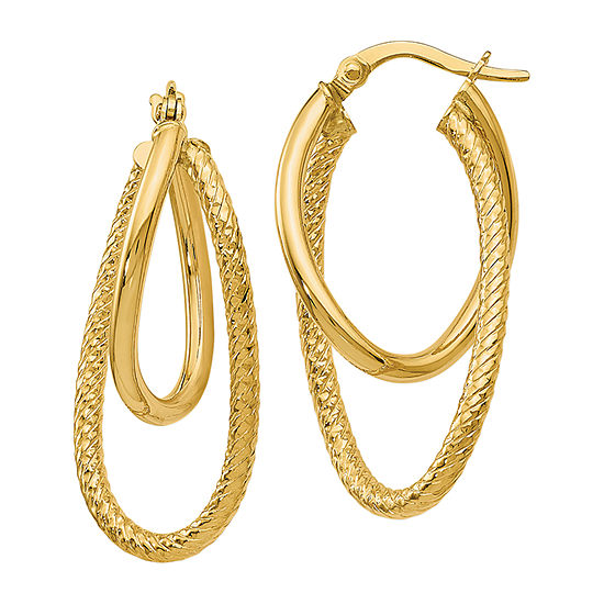 Made in Italy 14K Gold 28mm Oval Hoop Earrings
