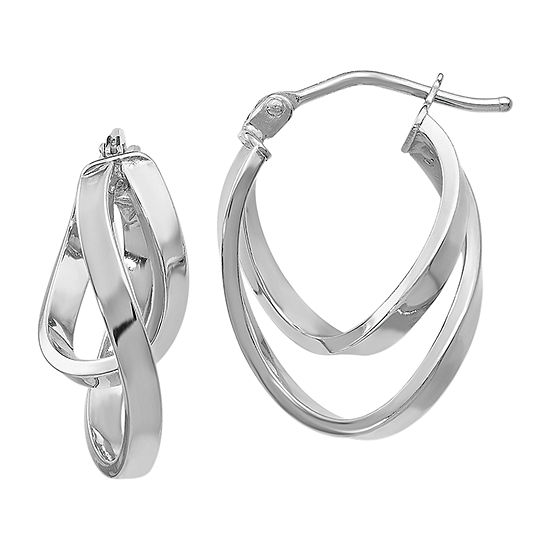 Made In Italy 14k White Gold 17mm Hoop Earrings
