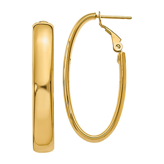Made In Italy 14k Gold 14mm Oval Hoop Earrings