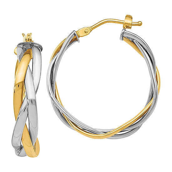 Made in Italy 14K Two Tone Gold 28mm Hoop Earrings