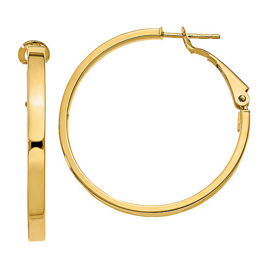 Made In Italy 14k Gold 30mm Round Hoop Earrings