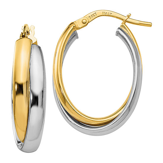 Made in Italy 14K Two Tone Gold 23mm Hoop Earrings