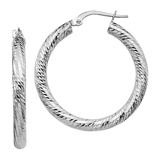 Made in Italy 10K White Gold 28.4mm Round Hoop Earrings
