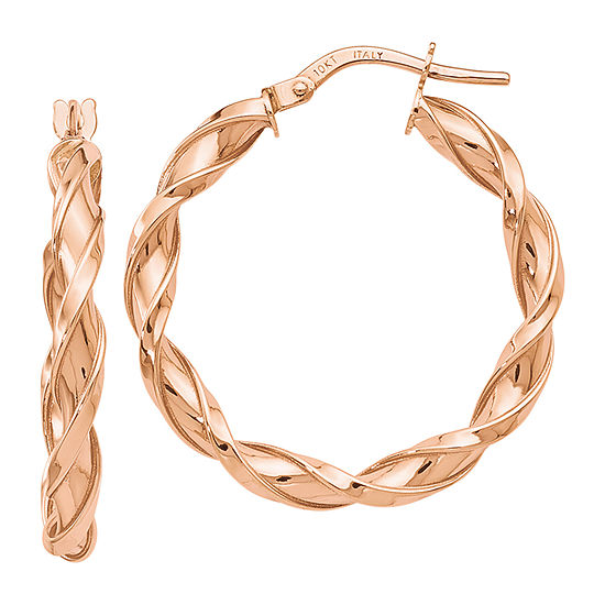 Made in Italy 10K Rose Gold 27mm Hoop Earrings