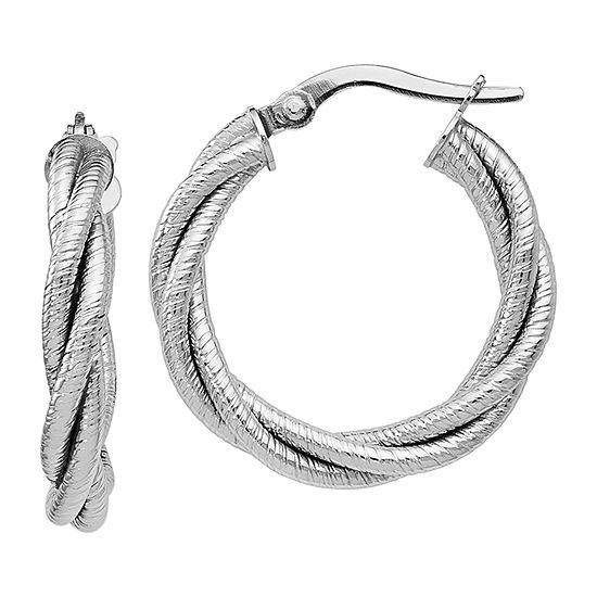 Made in Italy 14K White Gold 21mm Hoop Earrings