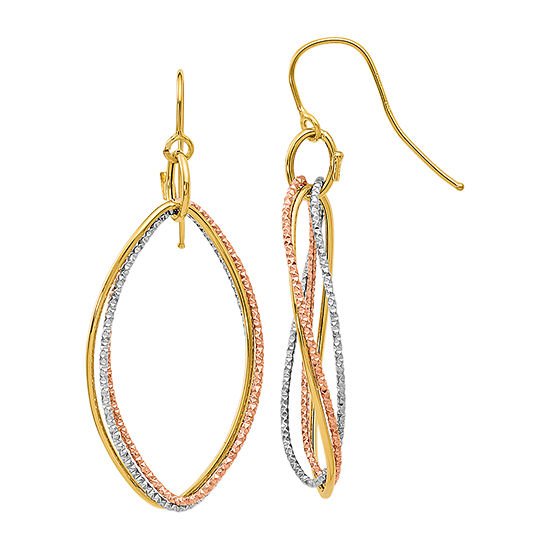 Made in Italy 10K Tri-Color Gold Drop Earrings