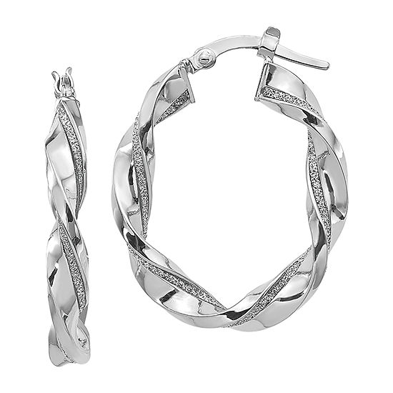 Made in Italy 14K White Gold 30mm Hoop Earrings