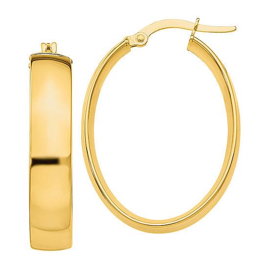 Made in Italy 14K Gold 18mm Oval Hoop Earrings