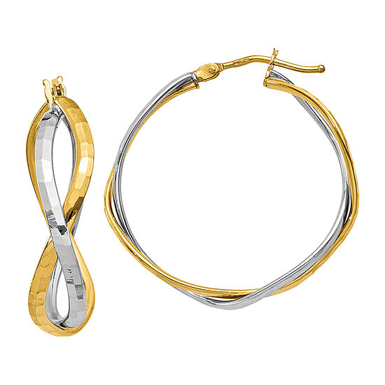 Made in Italy 14K Two Tone Gold 28.7mm Hoop Earrings