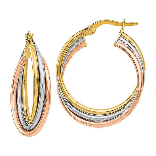 Made in Italy 14K Tri-Color Gold 22mm Hoop Earrings